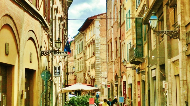 Streetscape, Downtown Pisa, Along The North West Tuscan Way by Martin Cooney