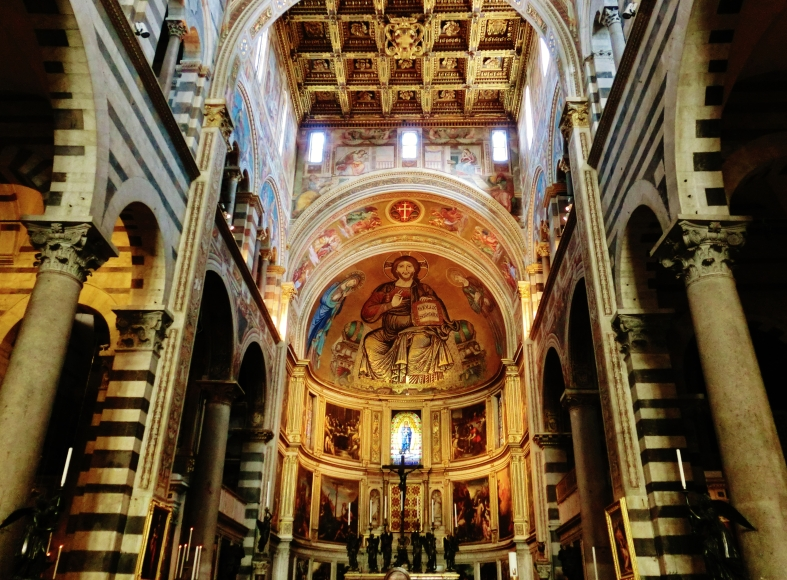 Alter and Ceiling of Pisa Cathedral, Tuscany, Italy