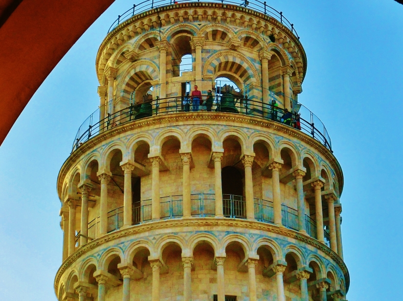 Crown Close Up, The Leaning Tower of Pisa, Italy, on the North West Tuscan Way by Martin Cooney
