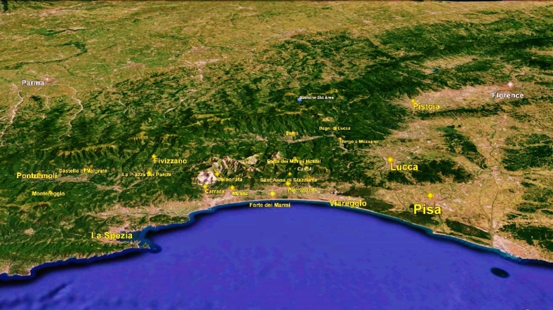 Pisa Tuscan Way Big Map 2 Google earth