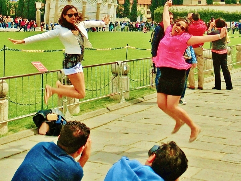 Leaping Tourists at The Leaning Tower of Pisa, Italy, on the North West Tuscan Way by Martin Cooney