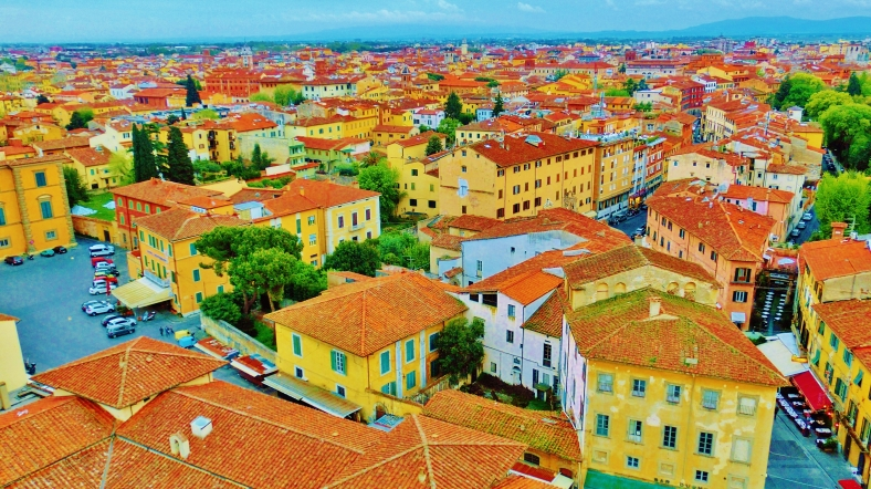 View over Pisa from The Leaning Tower of Pisa, Italy, on the North West Tuscan Way by Martin Cooney