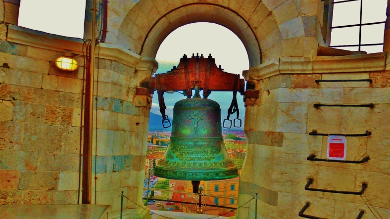 Hand Bell Atop of The Leaning Tower of Pisa, Italy, on the North West Tuscan Way by Martin Cooney