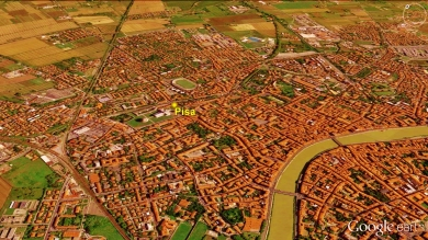 Pisa, Leaning Tower Exit, Google Earth Map 2