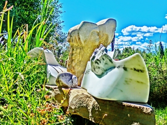 Terrible Lizard, Snowgoyles, Dreadnought, Yule Marble Sculpture by Martin Cooney