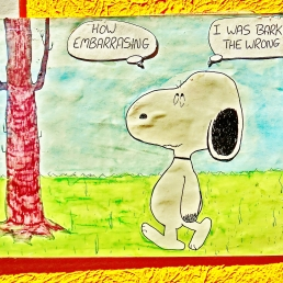 Snoopy Cartoon Greeting Card, pen and ink with crayon and pastel. Martin Cooney.