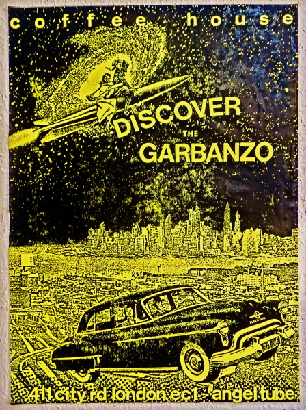The Garbanzo Coffee House, poster, mid-eighties, The Angel, Islington, London, England, UK. Martin Cooney.