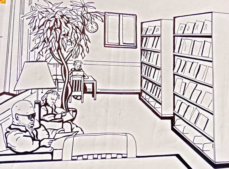 The Aspen Public Library, pen and ink, Martin Cooney.