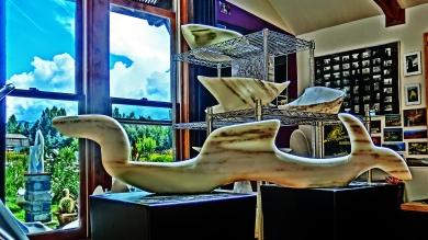 Nessie, Adam, Titanic, Sailboat Tempest, Colorado Yule Marble Sculpture by Martin CooneyBirdhaven Studio, Woody Creek CO
