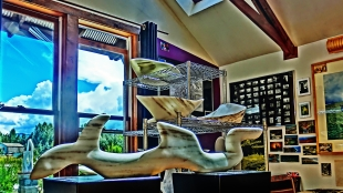 Nessie, Adam, Titanic, Sailboat Tempest, Colorado Yule Marble Sculpture by Martin Cooney, Birdhaven Studio, Woody Creek CO