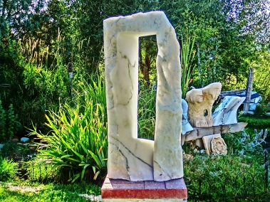 "$5,200 Oblique Perspective 15x6x33"", Dreadnought, Snowgoyles, Mabel, Yule Marble Sculpture by Martin Cooney"