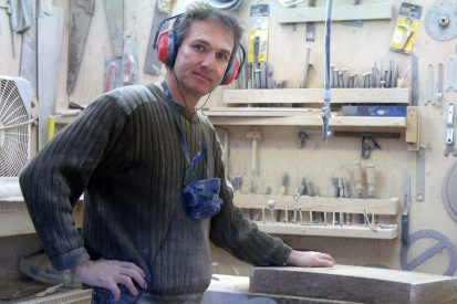 Martin Cooney breaks for the camera, Studio Workshop, Woody Creek, Colorado, elevation 7,300 feet