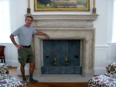 Aspen, Colorado. Martin Cooney, author martincooney.com, with a Winterset Limestone Fireplace.