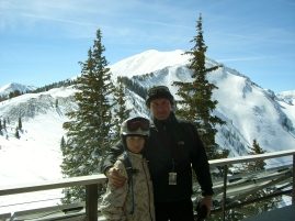 Martin Cooney with son Joseph, Highland's Bowl, Aspen, Colorado