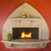 'Taos', Winterset Limestone fireplace designed and carved by Martin Cooney