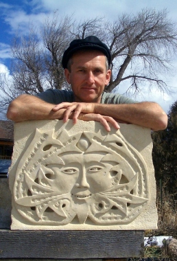 Martin Cooney, author martincooney.com, Elky, Kansas Creme Limestone Sculpture by Martin Cooney, stone sculptor