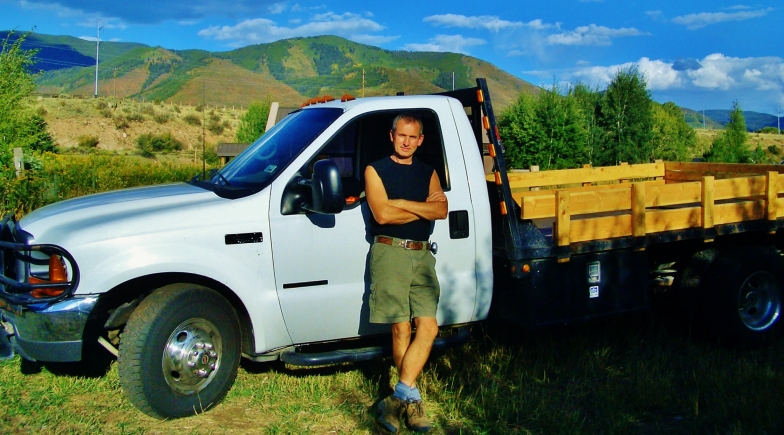 Martin Cooney, August 1st, 2004. with Ford F350 Flatbed Truck.