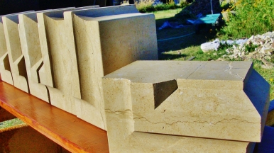 Masonry carved by Martin Cooney at his Woody Creek Studio Workshop