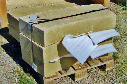 Masonry blocks to be carved by Martin Cooney at his Woody Creek Studio Workshop