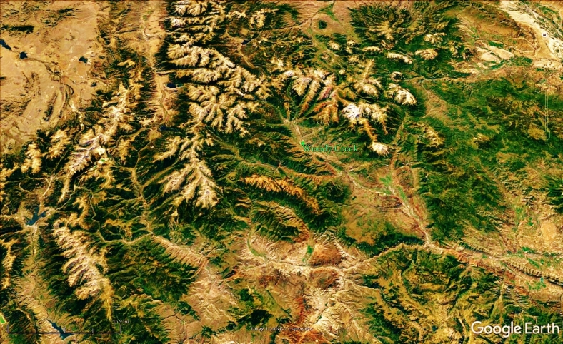The Rocky Mountains and Woody Creek from Space, map 14