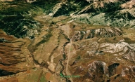 Woody Creek from Space, map