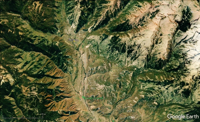 Aspen, Snowmass, and Woody Creek from Space, map 21