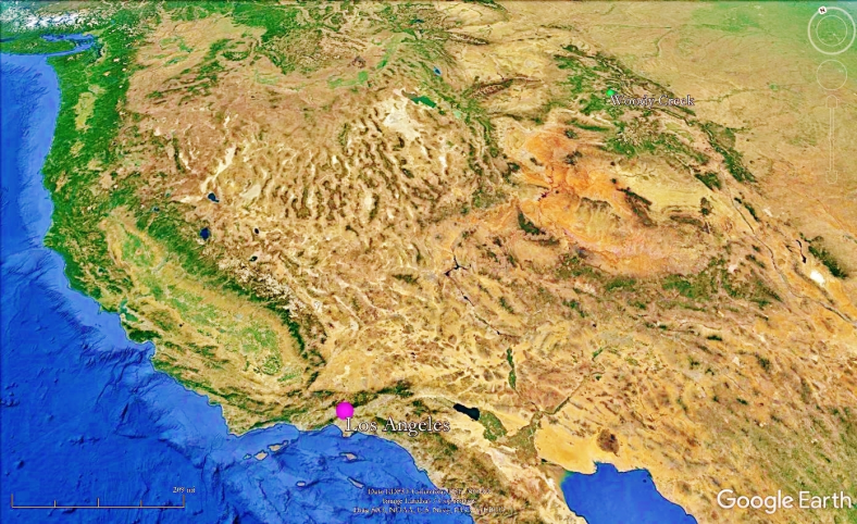 Los Angeles,Woody Creek from Space, map 1