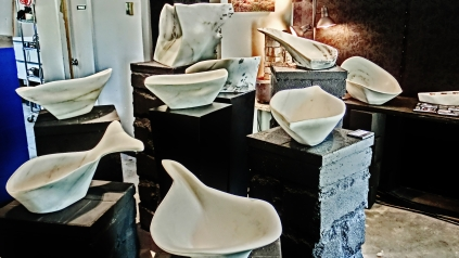 Colorado Yule Marble Sculpture, Including Hand Carved Marble Bowls, by Martin Cooney