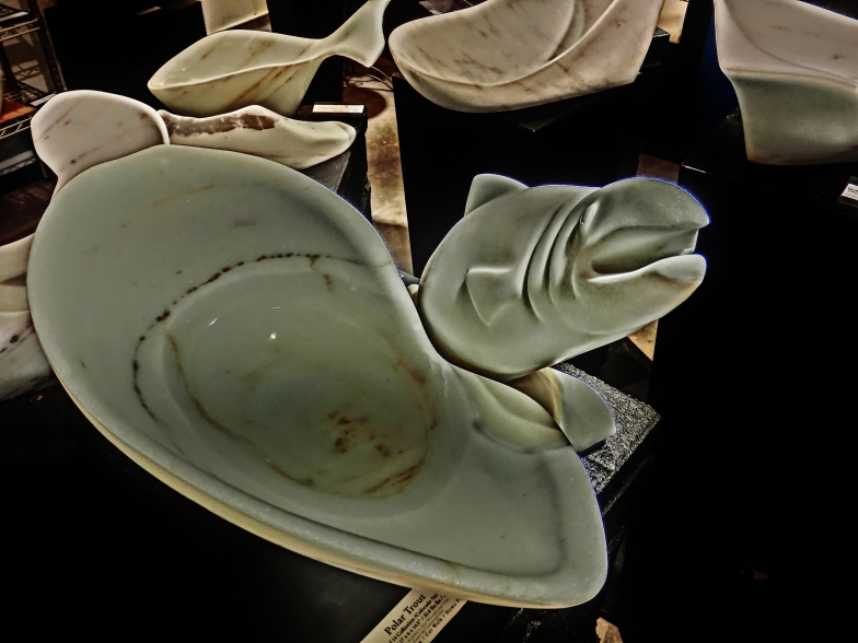 On The Cusp, Polar Trout,Colorado Yule Marble Sculpture, Including Hand Carved Marble Bowls, by Martin Cooney