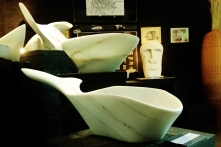 Jonah, On The Cusp, Industrial Evolution,Colorado Yule Marble Sculpture, Including Hand Carved Marble Bowls, by Martin Cooneyy