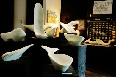 Fingerbowl, Along The Way, Sailboat Tempest, Jonah, Nessie, on the KMJ TV, Colorado Yule Marble Sculpture by Martin Cooney
