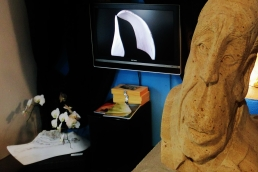 Boogieman, Guin and Son on the KMJ TV, Colorado Yule Marble Sculpture by Martin Cooney