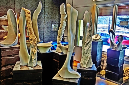 Cat Walk, Reversed Equation, Finger Bowl, 1718 Winter Show, Colorado Yule Marble Sculpture by Martin Cooney, KMJ COONEY GALLERY, Aspen, Colorado