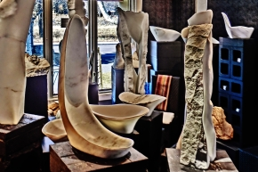 Finger Bowl, Reversed Equation, 1718 Winter Show, Colorado Yule Marble Sculpture by Martin Cooney, KMJ COONEY GALLERY, Aspen, Colorado