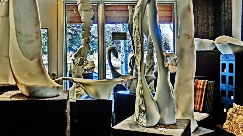 Reversed Equation, 1718 Winter Show, Colorado Yule Marble Sculpture by Martin Cooney, KMJ COONEY GALLERY, Aspen, Colorado