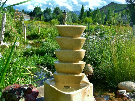Pagoda Bowl Fountain, Kansas Creme Limestone by Martin Cooney, Birdhaven Sculpture Garden, Woody Creek, Colorado