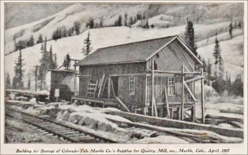 Yule Marble Quarry, 1907, supplies building