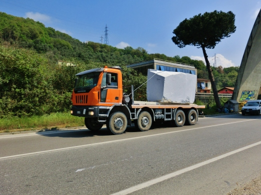 Moving Marble Block Italian Style, Carrara, Along The North West Tuscan Way