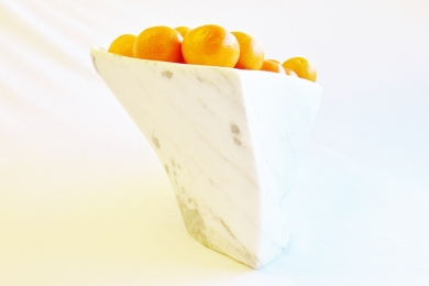 Chicane with Tangerines, Colorado Yule Marble Sculpture by Martin Cooney