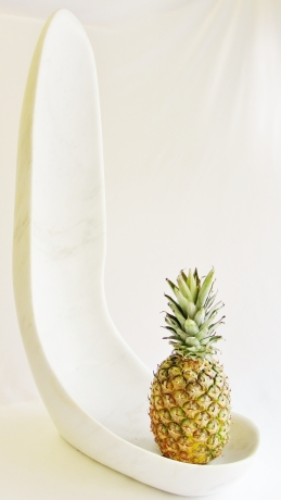 Finger Bowl, with Pineapple, Colorado Yule Marble Sculpture by Martin Cooney