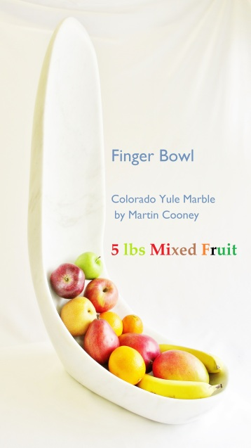 Finger Bowl, with Mixed Fruit, Colorado Yule Marble Sculpture by Martin Cooney