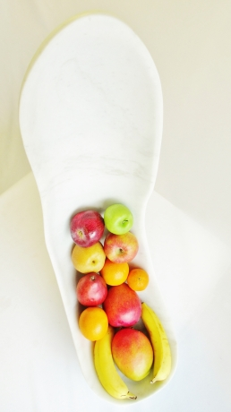 Finger Bowl with Mixed Fruit, Colorado Yule Marble Sculpture by Martin Cooney