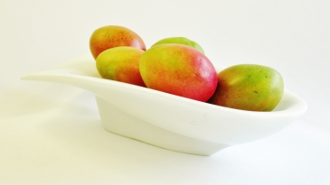 San Rocchino Bowl, with Mangoes, Colorado Yule Marble Sculpture by Martin Cooney