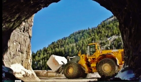 Volvo's Largest Loader moves scrap marble at the Yule Quarry, Colorado