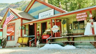 Friendly Dog, Redstone General Store, Redstone, Crystal River Valley, Along The Aspen Marble Detour, Colorado, by Martin Cooney