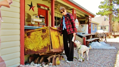 Kris Cooney and Friendly Dog, Redstone General Store, Redstone, Crystal River Valley, Along The Aspen Marble Detour, Colorado, by Martin Cooney