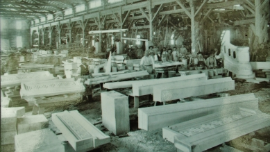 The Colorado Yule Marble Quarry Finishing Room showing the Cayahoga Courthouse spiral staircase balustrade in top right corner