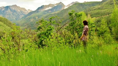 Kris Cooney takes in the Panoramic View from McClure Pass Wagon Road Trail, Along The Aspen Marble Detour